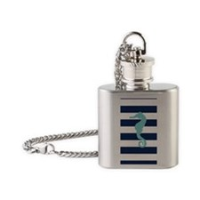 Teal Seahorse on Blue Stripes Flask Necklace
