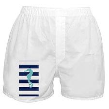 Teal Seahorse on Blue Stripes Boxer Shorts