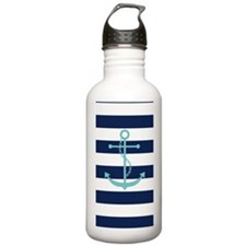 Teal Anchor on Navy Bl Water Bottle