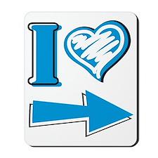 I Heart - Blue Arrow Mousepad