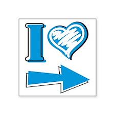 "I Heart - Blue Arrow Square Sticker 3"" x 3"""