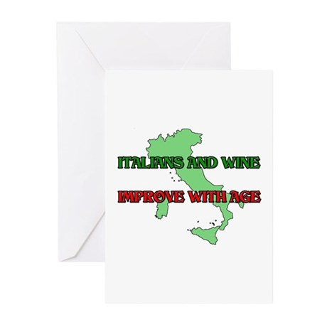 Italians And Wine Improve Wit Greeting Cards (Pack