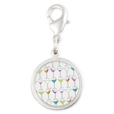 GOING GONE MARTINIS Silver Round Charm