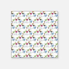 "PARTY GLASSES Square Sticker 3"" x 3"""