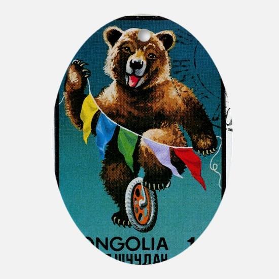 1973 Mongolia Bear Riding Wheel Post Oval Ornament