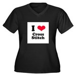 I Love Cross Stitch Women's Plus Size V-Neck Dark