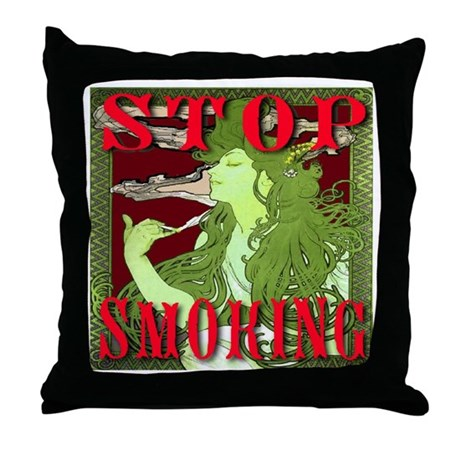 Stop Smoking Art Nouveau Throw Pillow