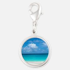 Tropical Beach View Cap Juluca Silver Round Charm