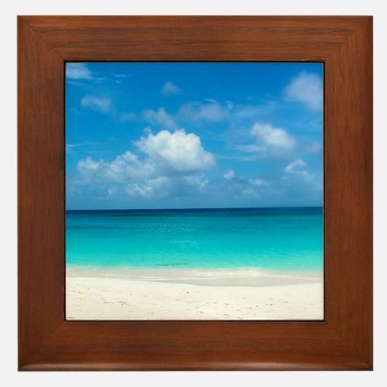 Tropical Beach View Cap Juluca Anguill Framed Tile