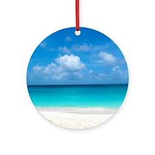 Tropical Beach View Cap Juluca Angu Round Ornament