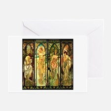 Four Maidens Art Nouveau Greeting Cards (Package o