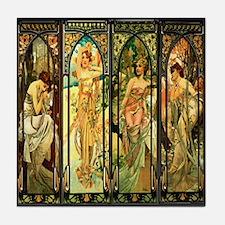 Four Maidens Art Nouveau Tile Coaster