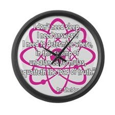 pink Toad on black Large Wall Clock