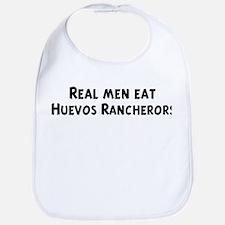 Men eat Huevos Rancherors Bib