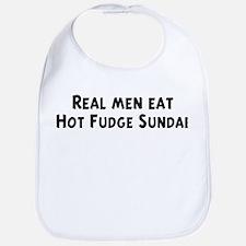 Men eat Hot Fudge Sundae Bib