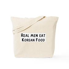 Men eat Korean Food Tote Bag