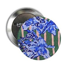 """Daylily Abstract Blue 2.25"""" Button"""