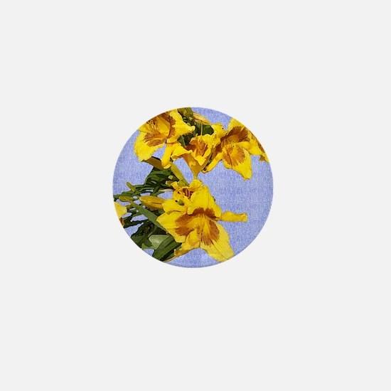 Yellow Painted Daylily Mini Button