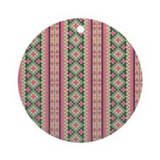 Pink and Green Aztec Pattern Round Ornament
