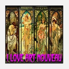 I Love Art Nouveau Tile Coaster