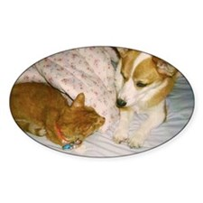cat and dog say hello color Decal