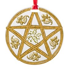 Pentacle Double Woven Wicker-Holly- Ornament