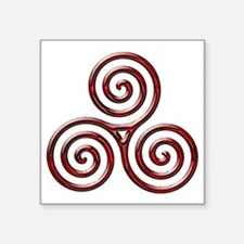 "Red Triple Spiral-plain Square Sticker 3"" x 3"""