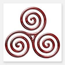 "Red Triple Spiral-plain Square Car Magnet 3"" x 3"""