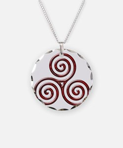 Red Triple Spiral-plain Necklace Circle Charm