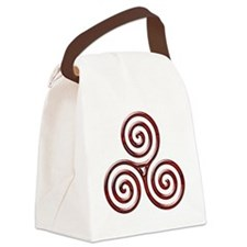 Red Triple Spiral-plain Canvas Lunch Bag