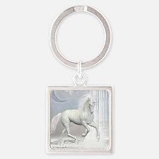 White Unicorn 2 Square Keychain
