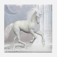 White Unicorn 2 Tile Coaster