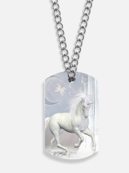 White Unicorn 2 Dog Tags