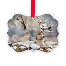 Siberian Husky Winter Wonderland Ornament