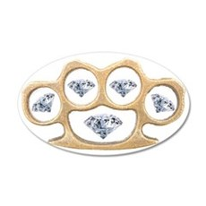 Gold Brass Knuckles with Dia 35x21 Oval Wall Decal