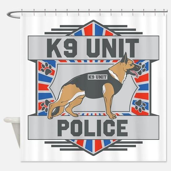 Custom German Shepherd K9 Unit Police Shower Curta