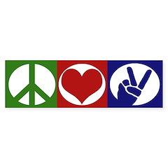 Peace, Love, Freedom (bumper sticker)