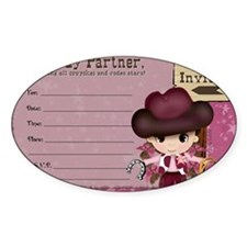 Cowgirl Birthday Party Invitation Decal