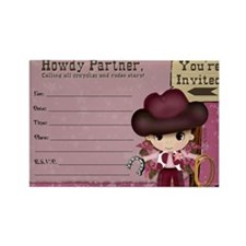 Cowgirl Birthday Party Invitation Rectangle Magnet