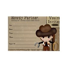 Cowboy Birthday Party Invitations Rectangle Magnet