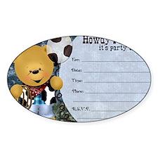 Cowboy Teddy Bearl Birthday Party I Decal