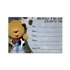 Cowboy Teddy Bearl Birthday Party Rectangle Magnet