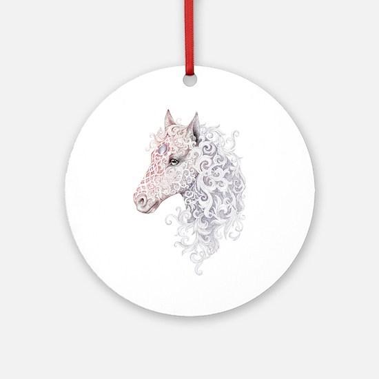 Horse Head Tattoo Round Ornament