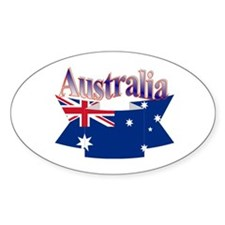 Aussie flag ribbon Oval Decal