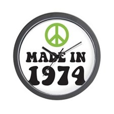 Made In 1974 Peace Symbol Wall Clock