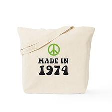 Made In 1974 Peace Symbol Tote Bag