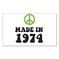 Made In 1974 Peace Symbol Rectangle Decal