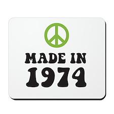 Made In 1974 Peace Symbol Mousepad