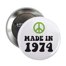 Made In 1974 Peace Symbol Button