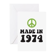 Made In 1974 Peace Symbol Greeting Cards (Package
